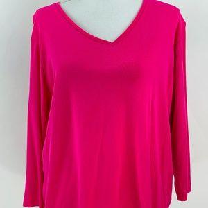 Jones New York Pink V-Neck Top Size 2X